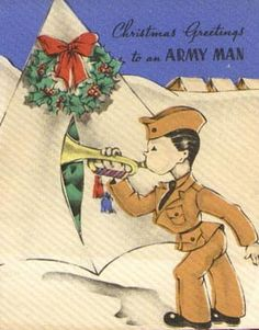 WWII Christmas card for a soldier. Read more about Christmas in the US military in World War II on author Sarah Sundin's blog. Plus a giveaway of Where Treetops Glisten and a vintage Christmas apron! Giveaway runs December 16-21, 2014.