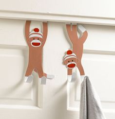 Metal Sock Monkey Door Hooks (Set of Sock Monkey Nursery, Monkey Bedroom, Door Hooks, Door Hangers, Boy Room, Kids Room, Anime Puppy, Monkey See Monkey Do, Underwater Theme