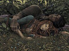 Tristan et Iseult Magdalena Korzeniewska 2 Fantasy Drawings, Fantasy Artwork, Pen Drawings, Tristan Et Iseult, Elfen Fantasy, Illustration Photo, Fairy Tree, Game Of Thrones Art, Fairytale Art