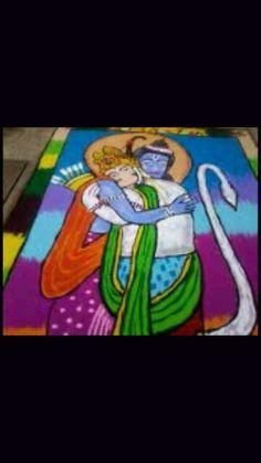 Rangoli of Ram and Hanuman
