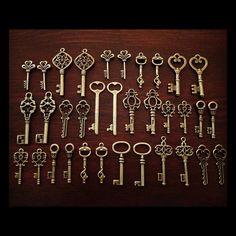 Keys to the Kingdom - Skeleton Keys - 36 x Vintage Keys Antique Bronze Brass Skeleton Key Skeleton Keys Set. $16.00, via Etsy.
