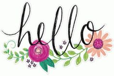 Silhouette Design Store - View Design #82929: floral painted hello