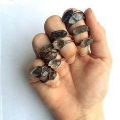 Tibetan crystal ring | Raw anthraxolite crystal ring | Double terminated quartz…