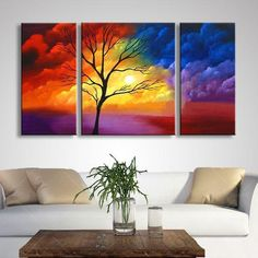 Dining Room Canvas Painting, Tree Painting, 3 Piece Painting, Tree of Life Painting, Modern Paintings 3 Piece Canvas Art, 3 Piece Painting, 3 Piece Wall Art, Hand Painting Art, Painting Canvas, Texture Painting, Painting Tips, Wall Canvas, Canvas Paintings For Sale