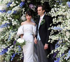 Lavish ceremony: Stylist Caroline Sieber wed Fritz Von Westenholz in a custom-made Chanel couture gown, July 2013