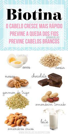 Biotina contra a queda de cabelo e para o cabelo crescer mais rápido. Lista de alimentos que contém biotina: ovos, aveia, chocolate, amendoim, leite... #projetorapunzel #projetomerida #crescecabelo #cabeloslongos