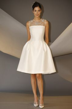 Vestido de novia corto de Carolina Herrera (FW 2014) #weddingdresses #NYBW
