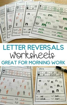 Help your students work on those tricky letter reversals with these quick, no prep worksheets.  Includes all the typical letter reversals- m/w, b/d, p/q, f/t, n/u and more!  These worksheets have a simple layout and are great for teaching in kindergarten and reviewing in first grade. Phonics Rules, Teaching Phonics, Primary Teaching, Spelling Activities, Preschool Worksheets, Learning Activities, Teaching Resources, Print Handwriting, Handwriting Practice