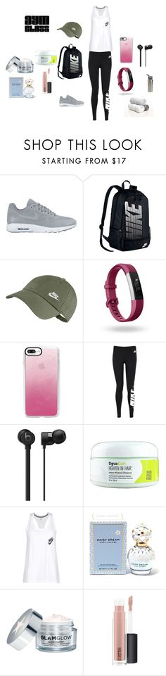 """Reporting To Gym Class"" by perezbarrios on Polyvore featuring NIKE, Fitbit, Casetify, DevaCurl, Marc Jacobs, GlamGlow and MAC Cosmetics"