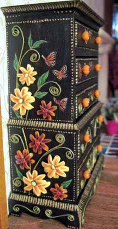 This is a one-of-a-kind unusual embellished and hand-painted dresser in 1/12 scale (1 inch = 1 foot). This item is a vintage House of Miniatures