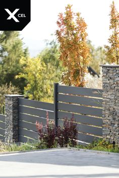 Stone Fence, Metal Fence, Aluminum Fence, Modern Fence, Fencing, Landscaping, Gardening, Bedroom, Outdoor Decor