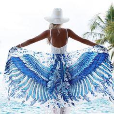 Gift For Her, Makeforgood, Printed Shawl, Boho Scarf, Blue Shawl, Blue Wings Scarf, Bohemian Shawl, Blue Beach Sarong, Bandana Scarf