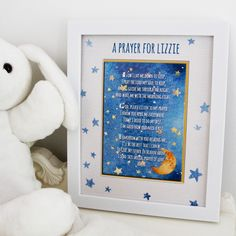 A great reminder for little ones to say prayers before bedtime. Tuck them in with the peace and comfort of a night time offering to God. Personalized with child's name for a personal touch; makes a lovely baby gift.