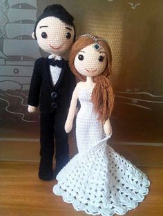Free shipping,Made to Order: Amigurumi Wedding Couple Dolls in Western Attire, Wedding Dolls, Amigurumi Dolls, by POPOtoys on Etsy