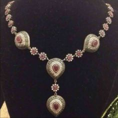 Turkish 925 sterling silver necklace Ruby,emerald , white topaz necklace Jewelry Necklaces