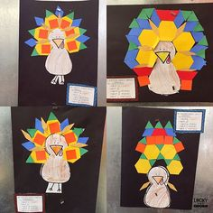 Gobble Gobble! Pattern Block Turkeys are adorable {as always!} Use the link in my profile to learn more! https://www.teacherspayteachers.com/Product/Pattern-Block-Turkeys-2212704
