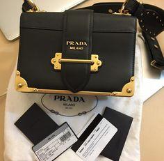 240852d213dc PRADA Black Cahier Leather Shoulder Bag EXCELLENT CONDITION Calf Leather,  Leather Shoulder Bag, Prada
