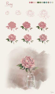 Flower Tutorial - Peony by RiyokuSakimori.deviantart.com on @deviantART
