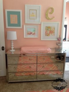 Nursery wall gallery {picking different mediums}, gold nursery art, mirrored dresser, nursery photo wall