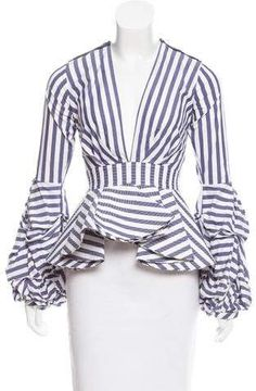 Blue and white Johanna Ortiz striped top with plunging neckline, embellished accents at shoulders, ruffled long sleeves and concealed zip closure at center back. Couture Dresses, Fashion Dresses, Diva Fashion, Fashion Stylist, African Fashion, Blouse Designs, Dress To Impress, Creative Embroidery, Stripes