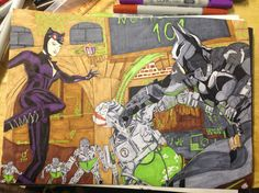 Batman and catwoman kicking some Riddler bot ass. Drawn with copic :)