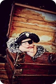 So want this for Liam...Newborn Photo Prop Baby Boy Pirate Hat by MitziKnitz on Etsy, $28.00