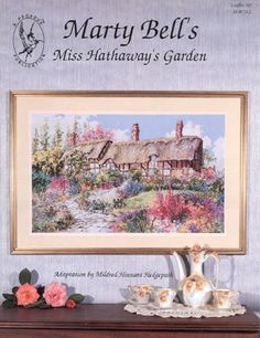 Miss Hathaway's Garden Cross Stitch Kit - Pegasus Originals - his is the most popular garden in the world and visitors come from all over to visit the famous Hathaway garden where William Shakespeare wooed Ann Hathaway long ago. Stitch Count 325 x 200 Counted Cross Stitch Patterns, Cross Stitch Charts, Cross Stitch Embroidery, Embroidery Patterns, Cross Stitch Pictures, Chicken Scratch, Cottage Design, Pegasus, Peace And Love