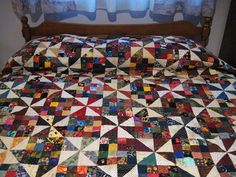 Queen size Patchwork Quilt Traditional old fashioned