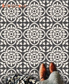 tiles Moroccan Encaustic Moroccan Tile Wall Stair Floor Self Adhesive Vinyl Stickers,Kitchen Bathroom Backsplash Carrelage Decal, Peel & Stick Home Decor Peel And Stick Floor, Peel And Stick Vinyl, Linoleum Flooring, Bathroom Flooring, Bathroom Art, Basement Bathroom, Tile Decals, Wall Tiles, Backsplash Tile