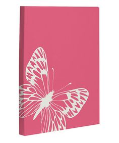 Take a look at this Honeysuckle & Ivory Butterfly Canvas Wall Art by OneBellaCasa on #zulily today!