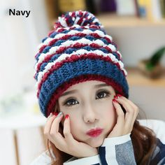 Stripe knit hat for winter wear beanie hats