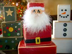 Box Santa, snowman and tree