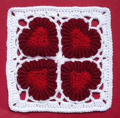 valentine crocheting | Valentine Hearts Crochet Bullion Afghan | crochet squares