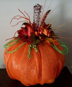 SALESALESALE1000 OffFall Pumpkin Deco Mesh by ADoorableCreations05, $75.00