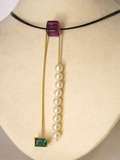 18K Green Tourmaline & Akoya Pearl Necklace
