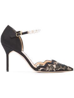 Marchesa Emma Pumps In Black Marchesa Shoes, Valentino, Georgina Chapman, Designer Pumps, Ankle Strap Shoes, Stiletto Pumps, Black Laces, European Fashion, Black Pumps