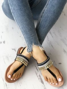 Color Block Flat Peep Toe Casual Flat Sandals - Buy Online Dress - Rivet Beading Embellished Toe Post Flat Sandals – Source by onlineshoppstore - Trendy Sandals, Flat Sandals, Trend Fashion, Fashion Flats, Bohemian Fashion, Denim Fashion, Indian Fashion, Style Fashion, Fashion Ideas