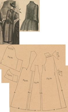 Der Bazar 1888: Brown checked woollen raincape with brown braidings and lining; 25. front part, 26. side gore, 27. back part in half size, 28. belt in half size, 29. lapel, 30. and 31. over- and undersleeve parts