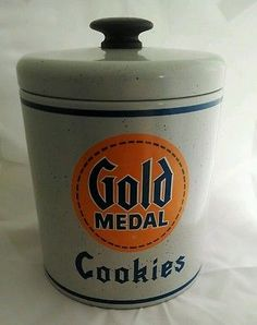 Gold-Medal-Flour-Advertising-Cookie-Jar-Heavyweight-Canister-Tin-Ransburg