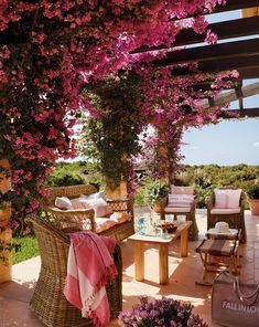 What does your dream look like? We are loving this outdoor dining pergola covered with vibrant bougainvillea! Outdoor Rooms, Outdoor Dining, Outdoor Gardens, Outdoor Furniture Sets, Outdoor Decor, Garden Furniture, Wicker Furniture, Jardin Decor, Rosemary Plant