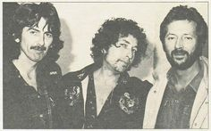 "ridingthewindsoflife: ""George Harrison Bob Dylan and Eric Clapton The Slowhand Travelling Wilburys """