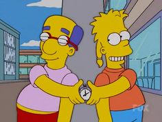 Milhouse and Bart restarting the stop watch again