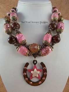 Chunky Western Cowgirl Statement Necklace Set  Pink and Brown