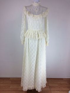 Vintage 1970s Lace Dress Size Small Victorian Style Ivory Cream Floral Prairie  #Victorian