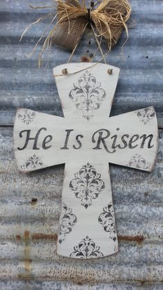 Hey, I found this really awesome Etsy listing at https://www.etsy.com/listing/122917396/he-is-risen-large-handpainted-distressed