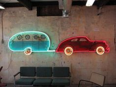 Car and Trailer in Neon. I need this over the fireplace mantle!