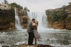 Engagement Photos at Lundbreck Falls in Crowsnest Pass with the couples' dogs in the pictures. Photos by Havilah Heger Photography Banff National Park, National Parks, Engagement Shoots, Wedding Engagement, How Beautiful, Beautiful Places, My Favorite Part, Bradley Mountain, I Love Dogs