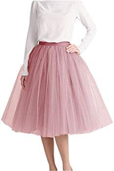 208387efa49 Lisong Women Tea Length Layered Tulle A-Line Tutu Party Skirt 2 US Dark  Green at Amazon Women s Clothing store