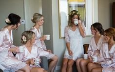 How gorgeous is this Autumn inspired wedding!! The gorgeous bride wearing our Sabrina lace robe and her beautiful bridesmaids in Bella robes #bridalrobes #wedding #homebodii