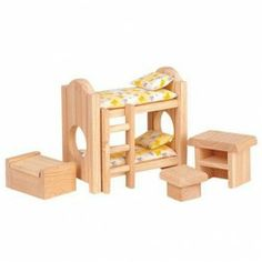 Plan Toys Wooden Dollhouse Furniture - Children's Bedroom